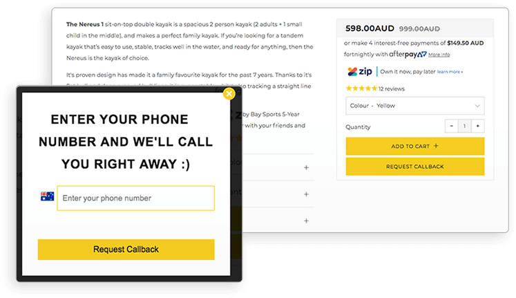 Example of callback button for better Shopify conversion rate